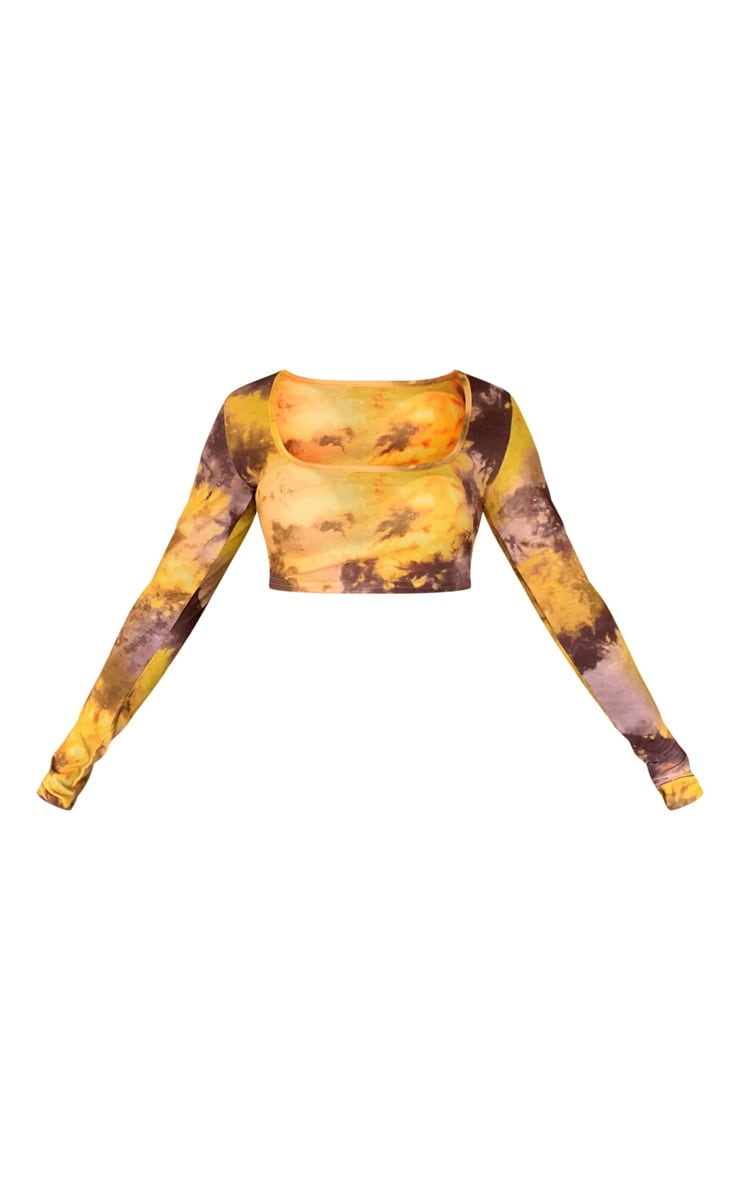 Yellow Tie Dye Long Sleeve Crop Top 4