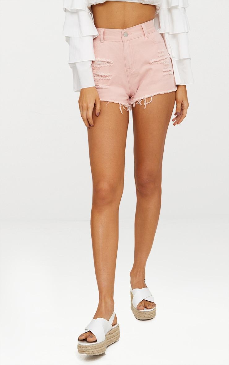 Mini-short en jean rose déchiré 2
