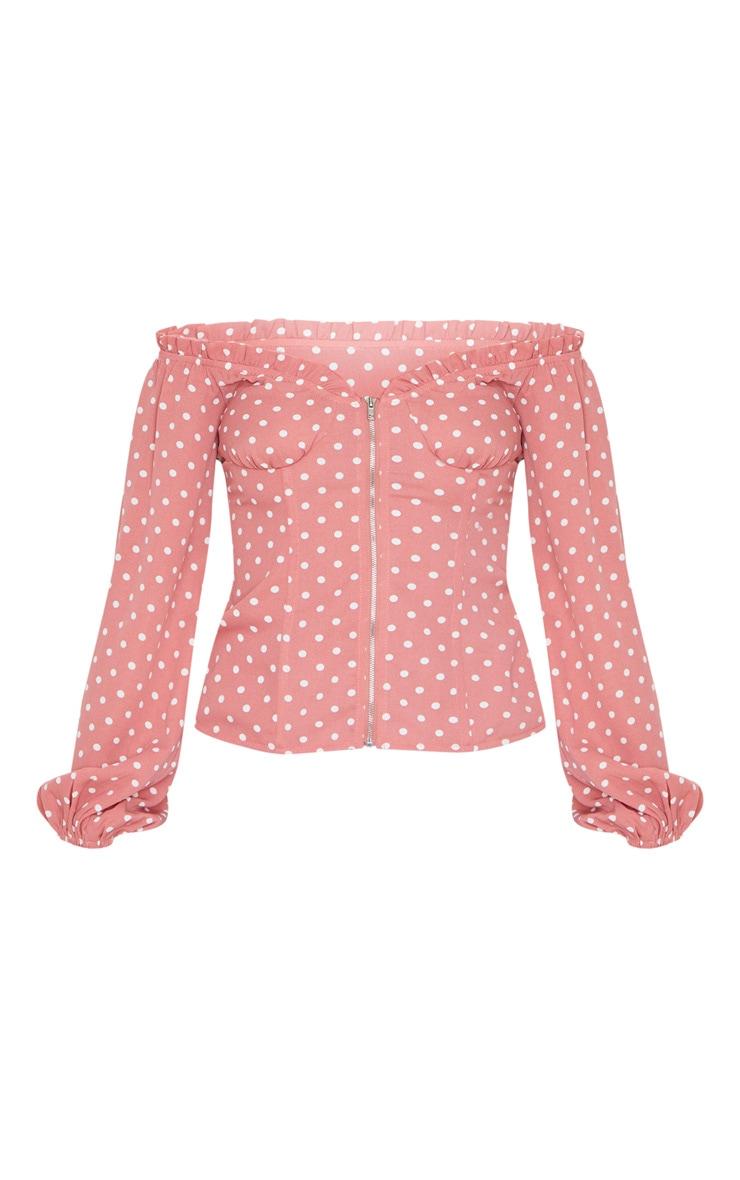 Pink Polka Dot Chiffon Bust Corset Long Top 5