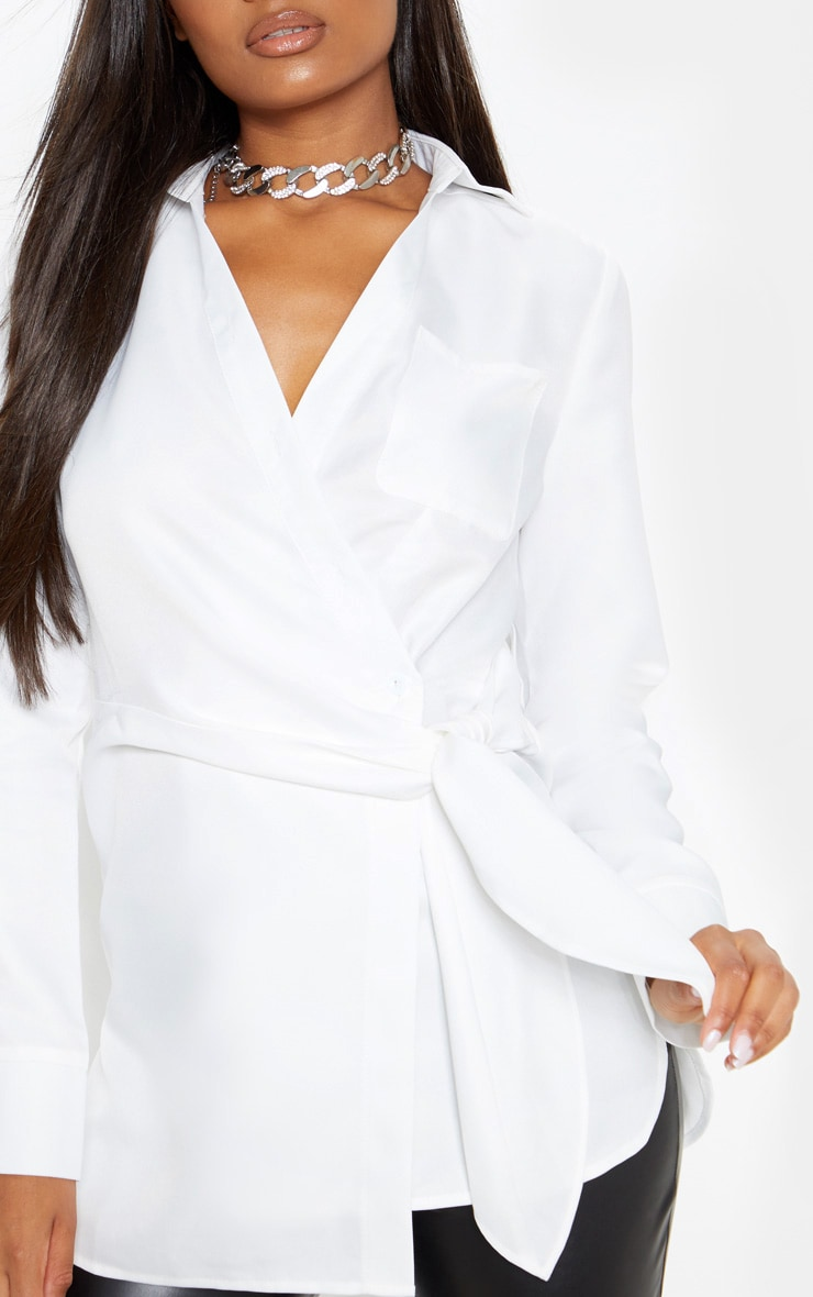 White Woven Tie Front Long Shirt  5