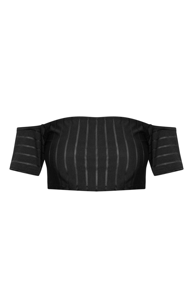 Black Mesh Stripe Bardot Crop Top 3