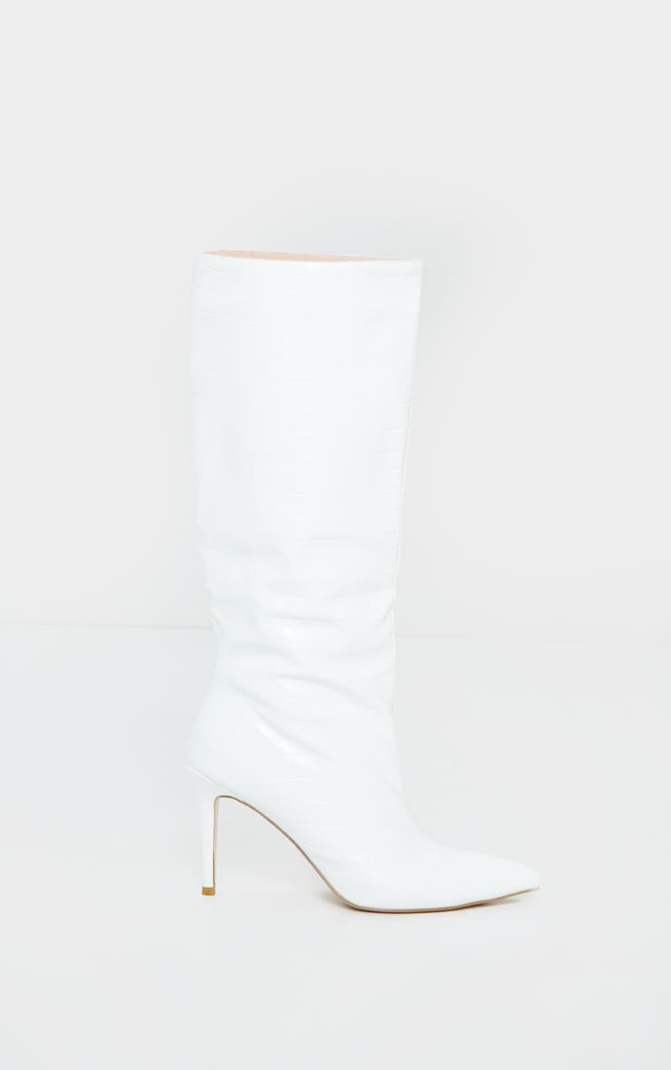 White Croc Calf Boots 3