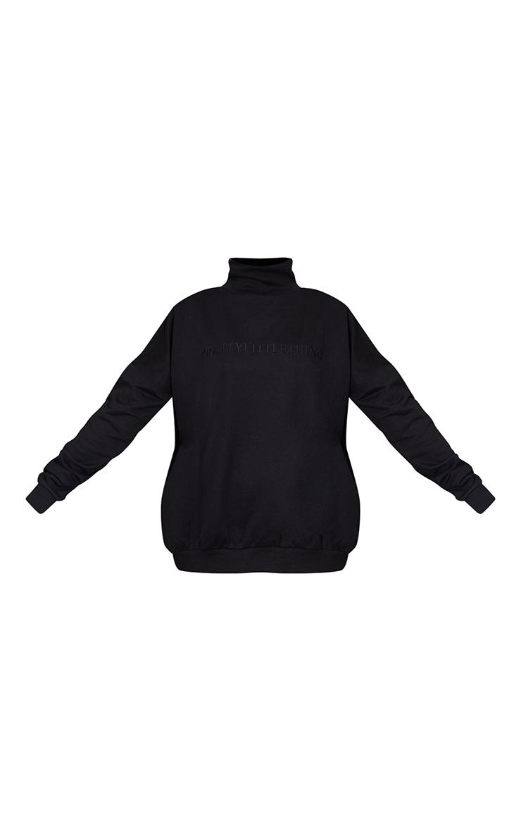 PRETTYLITTLETHING Black Embroidered High Neck Oversized Sweatshirt 5