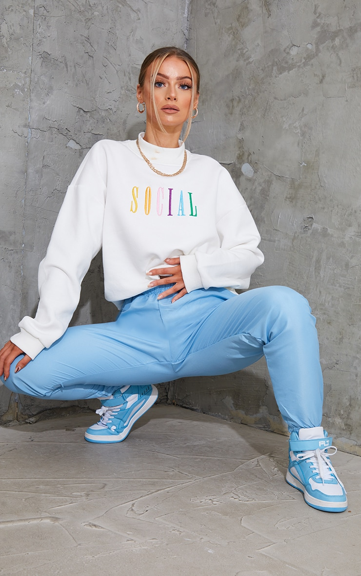 Blue Peached Zip Detail Joggers 1