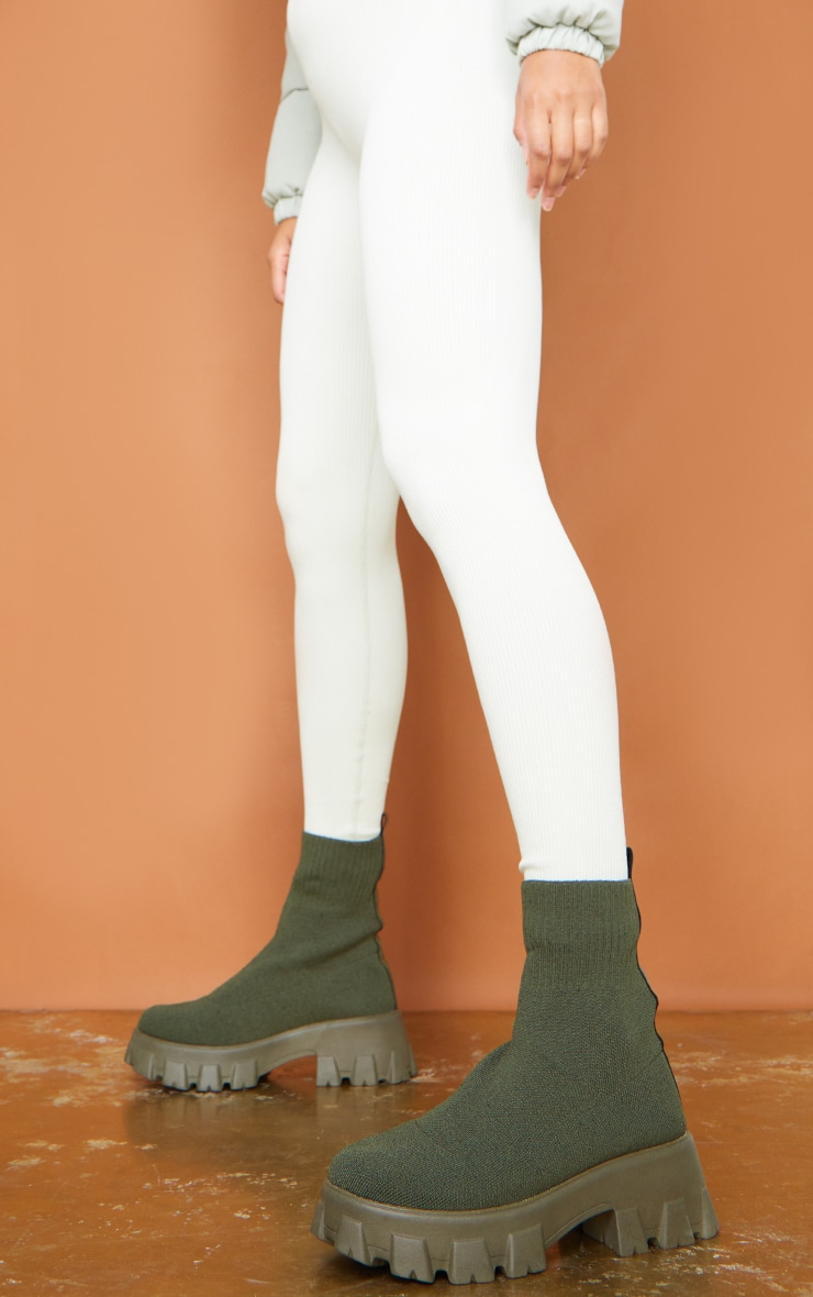 Khaki Knitted Sock Ankle Boots 2