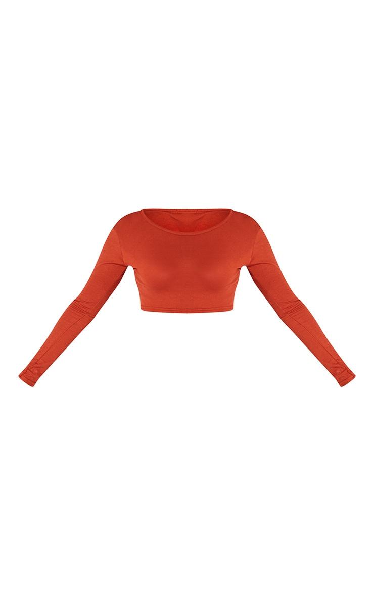 Rust Basic Jersey Long Sleeve Crop Top 5
