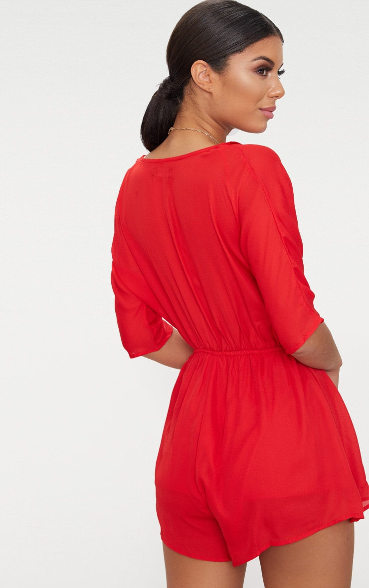 Red Wrap Front Playsuit 2