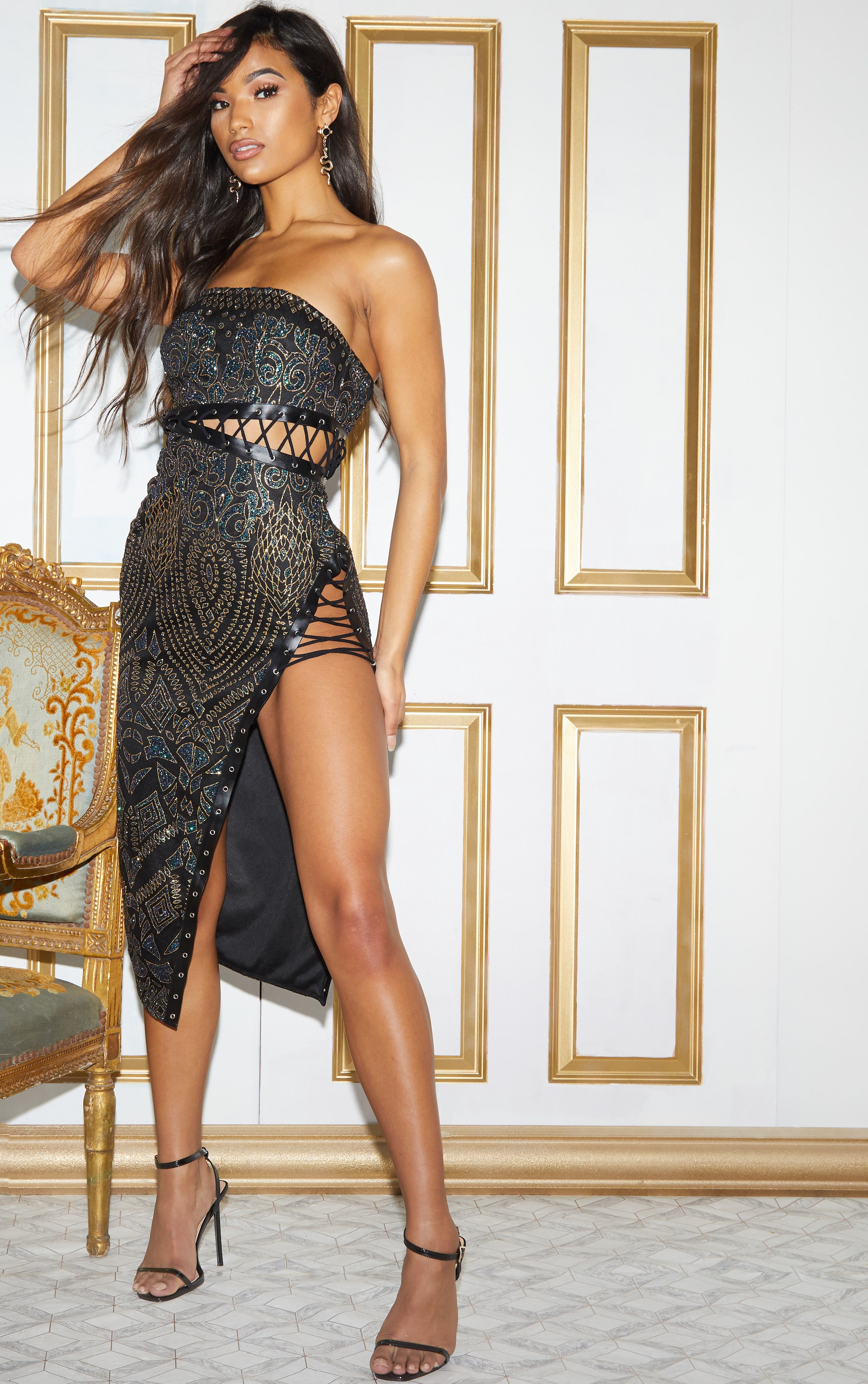 Black Glitter Lace Detail Bandeau Midi Dress 3