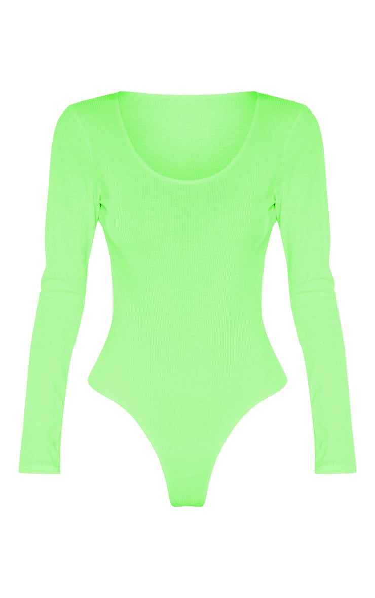 Tall Neon Lime Ribbed Scoop Neck Long Sleeve Bodysuit 3
