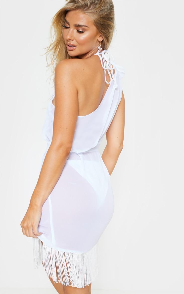 White Asymmetric Fringe Beach Dress 3