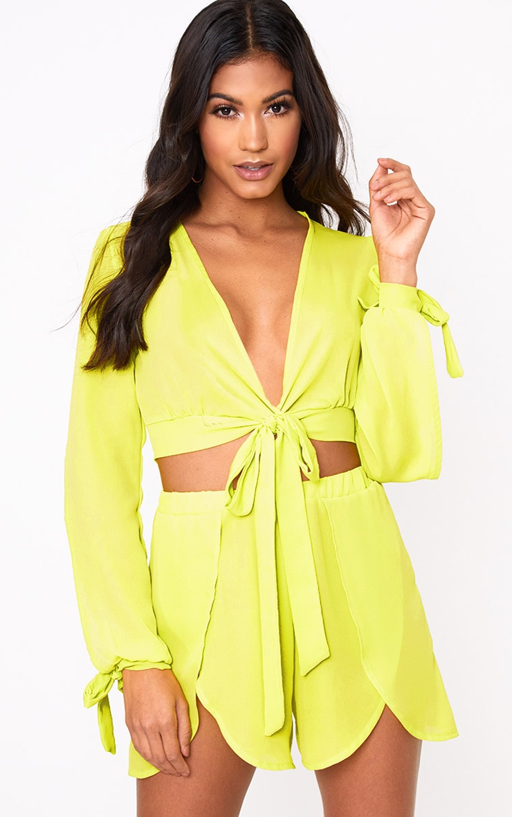 Lime Sheer Woven Open Sleeve Tie Front Top  1