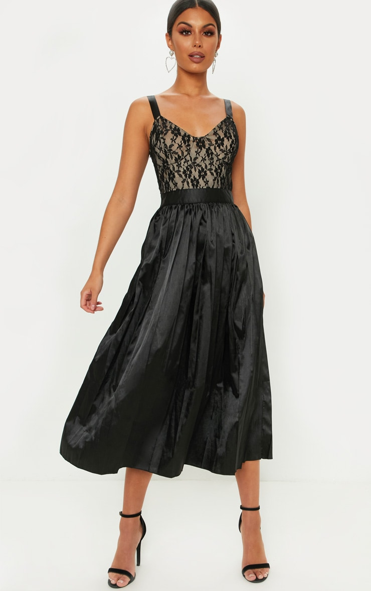 Black Lace Top Pleated Skirt Midi Dress 1