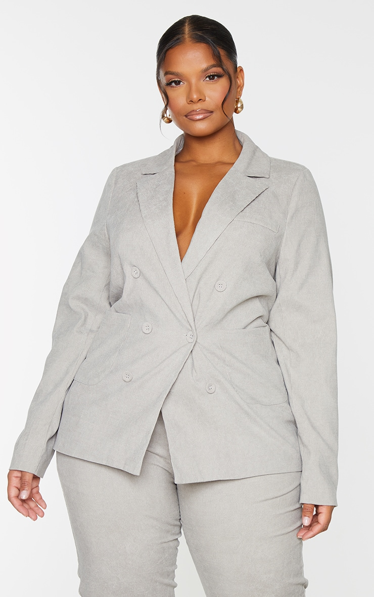 Plus Grey Cord Double Breasted Blazer 3