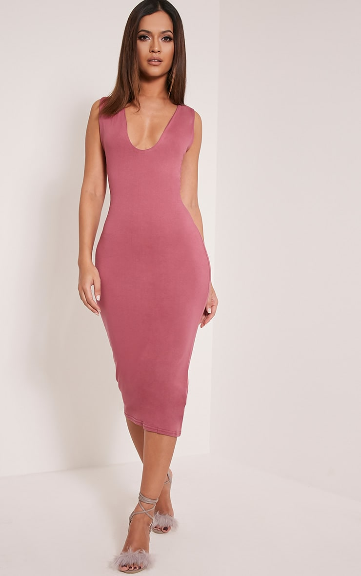 Basic Rose Plunge Jersey Midi Dress 5