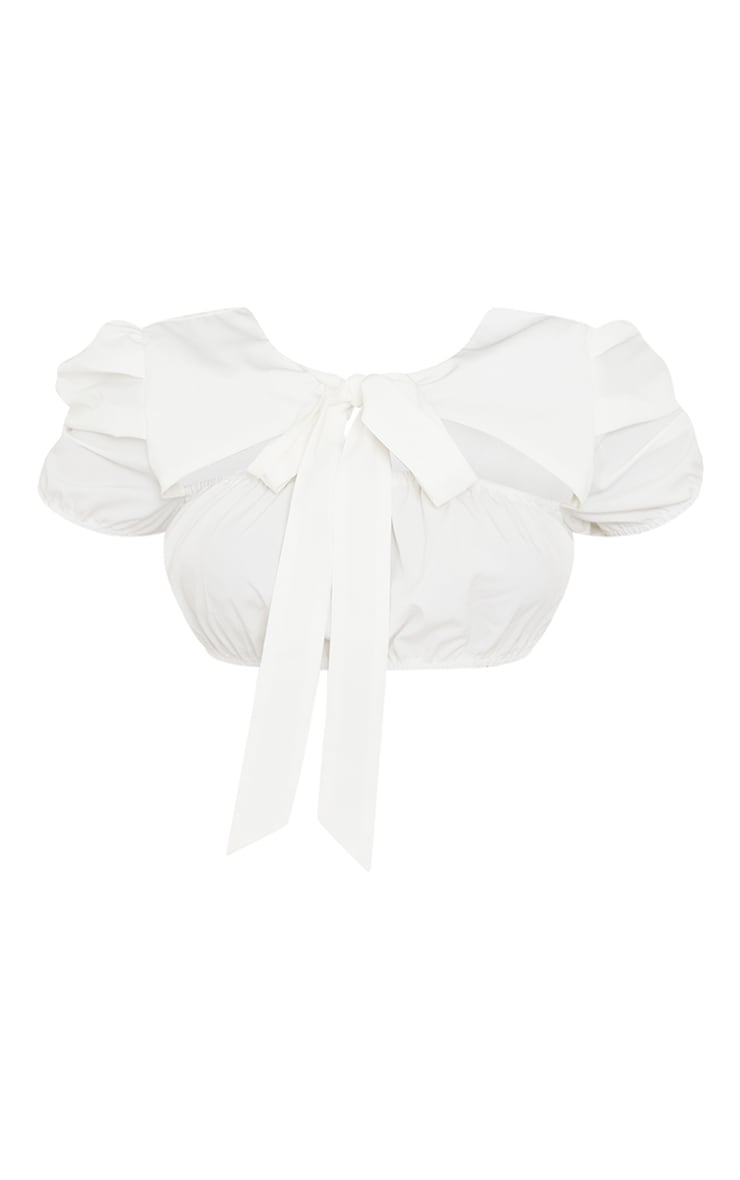 White Woven Puff Short Sleeve Tie Backless Crop Top 5