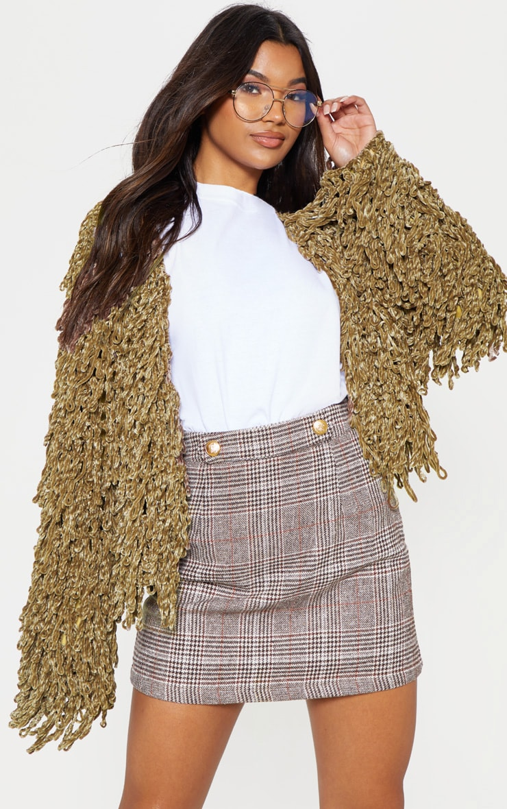 Taupe Chenille Shaggy Knitted Cardigan 1
