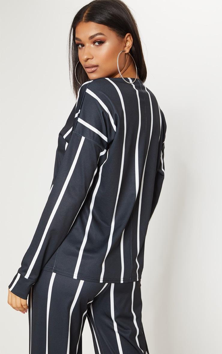 Black Stripe Jersey Collar Detail Top 2