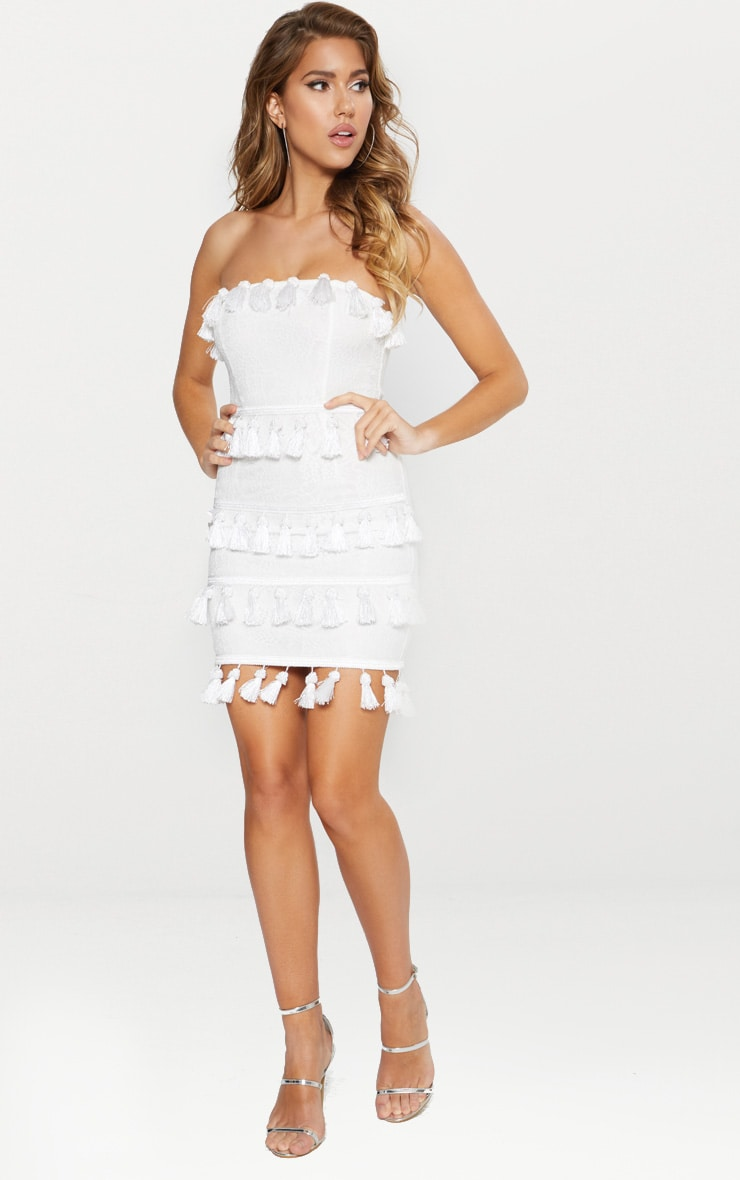 White Lace Tassel Trim Bandeau Bodycon Dress 3