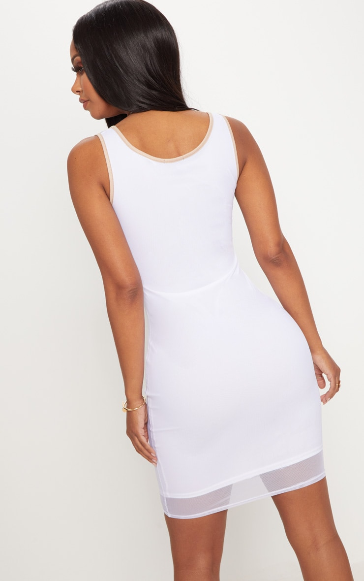 Shape White Contrast Binding Bodycon Dress 2