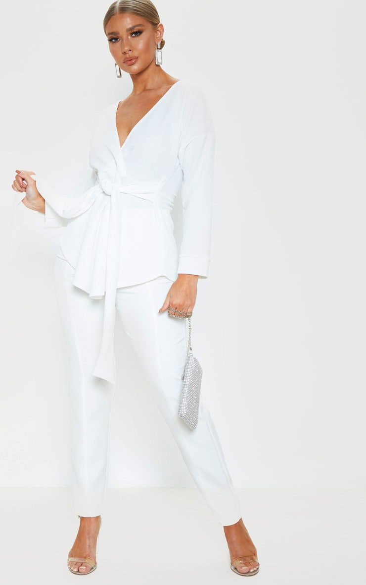 White Tie Waist Blouse 4