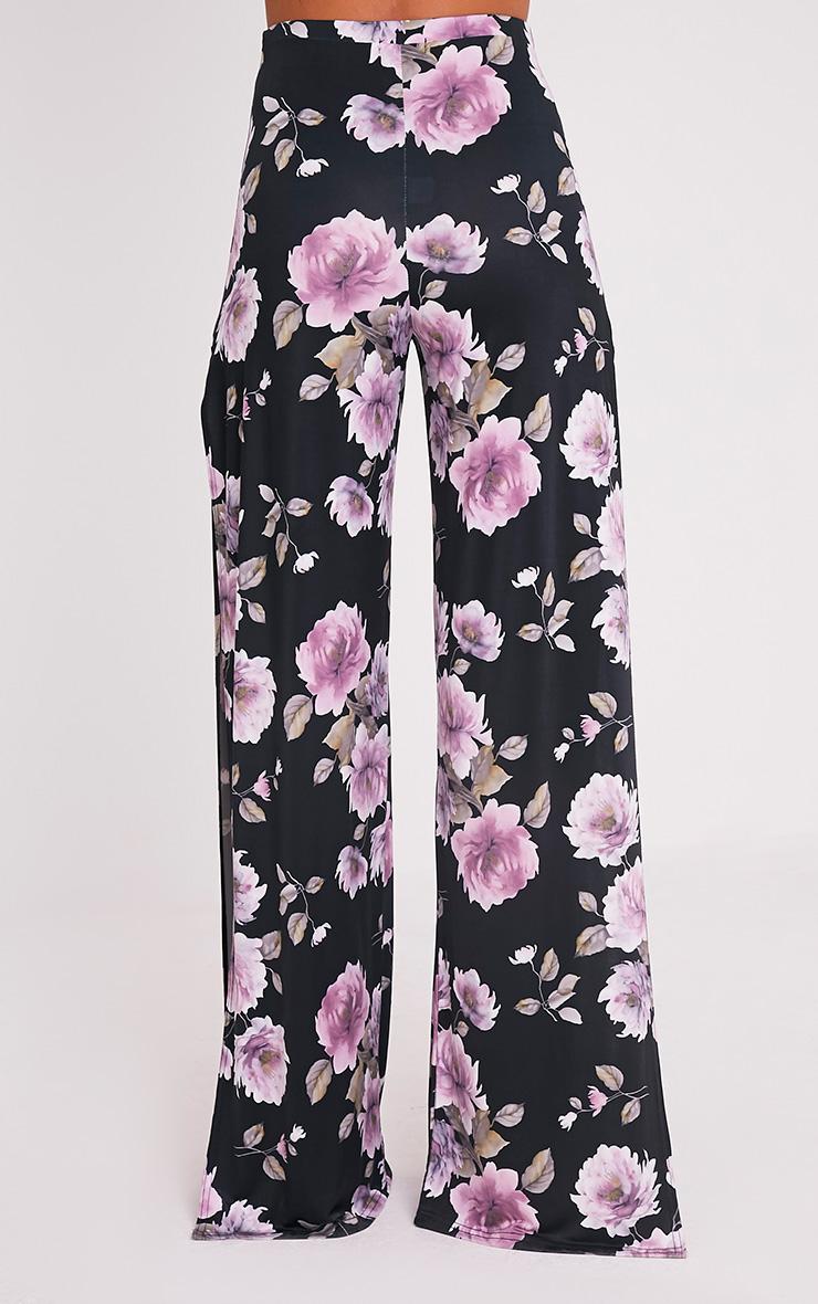 Darsee Black Floral Print Side Split Slinky Trousers 5