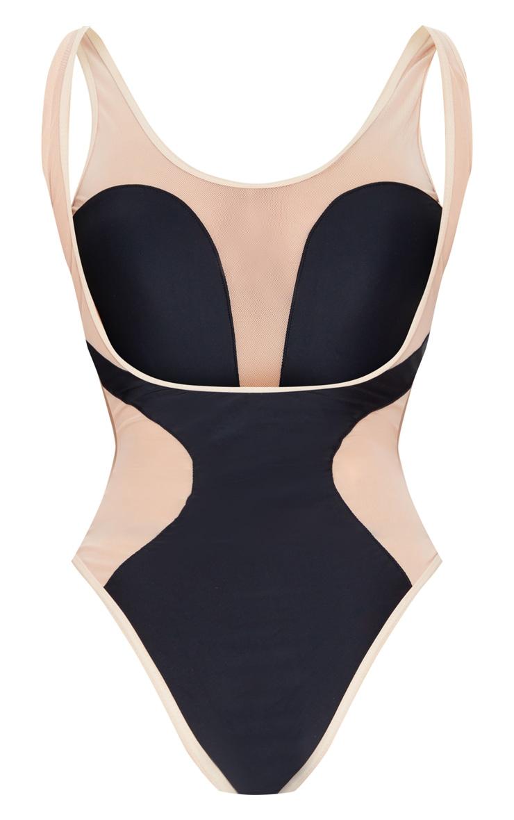 Black Mesh Panel Swimsuit 6