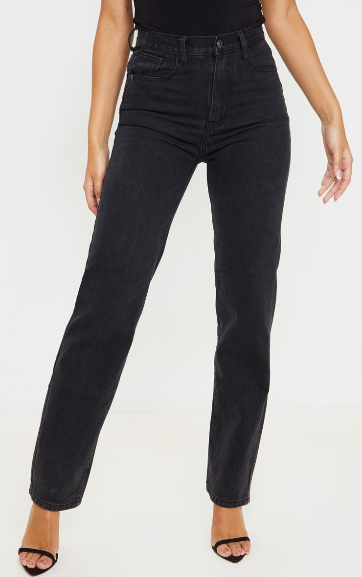 Washed Black High Waist Straight Leg Jeans 2