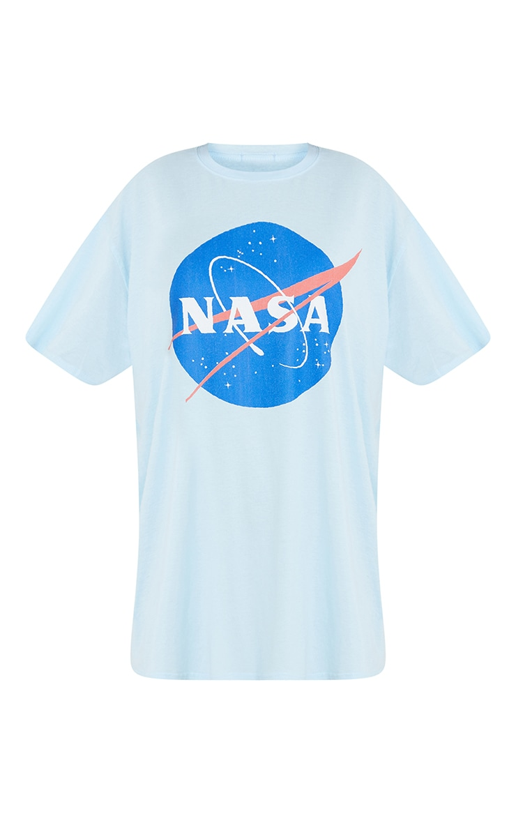 Baby Blue NASA Globe Logo Print Short Sleeve Nightie 5