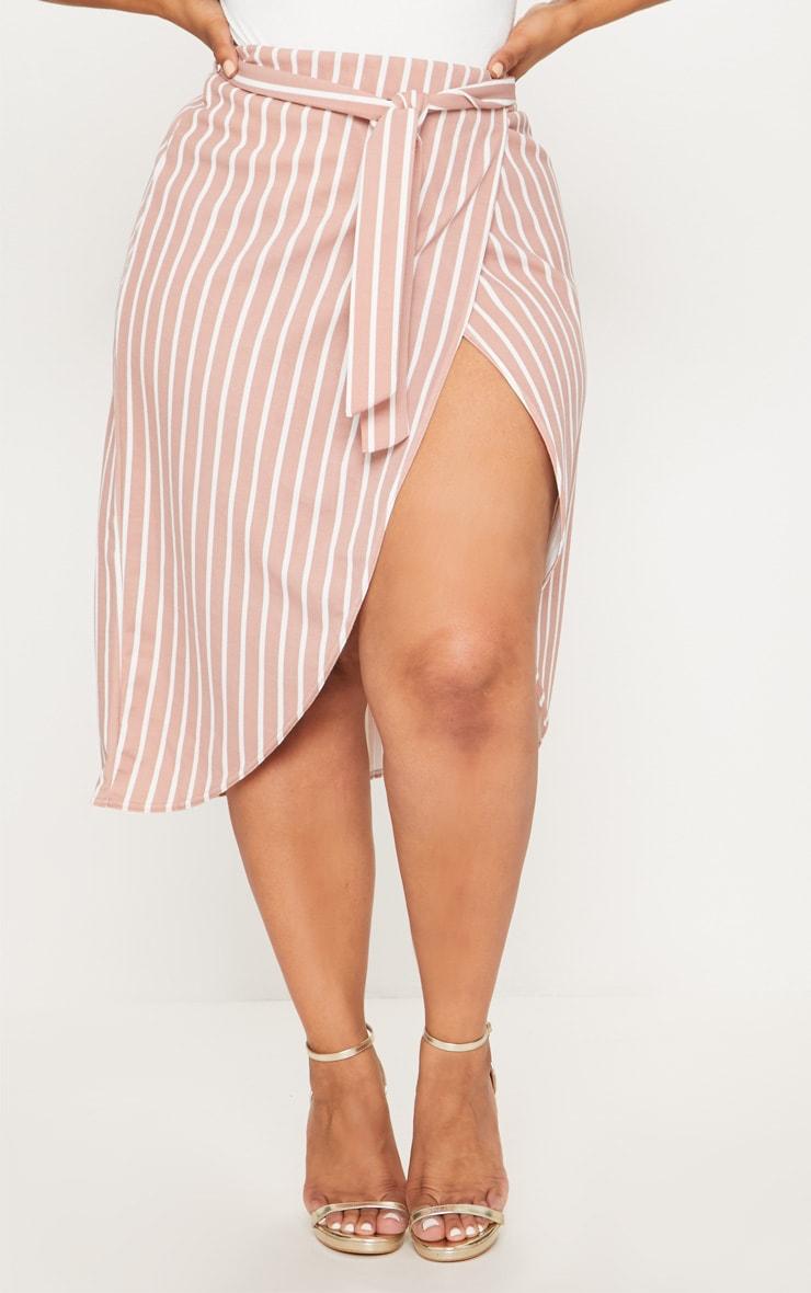 Plus Nude Striped Tie Waist Midi Skirt 2