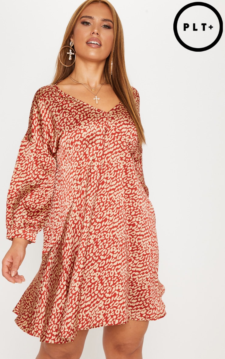 Plus Red Leopard Print Long Sleeve Shift Dress