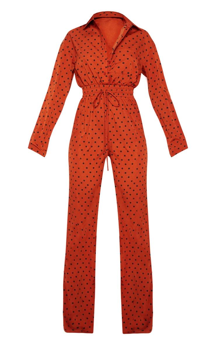 Rust Polka Dot Shirred Waist Wide Leg Jumpsuit 3