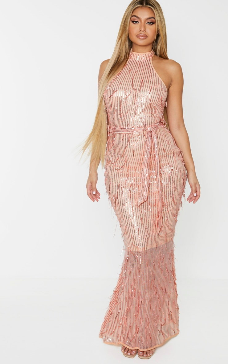 Rose Gold Tassel Sequin High Neck Maxi Dress 1