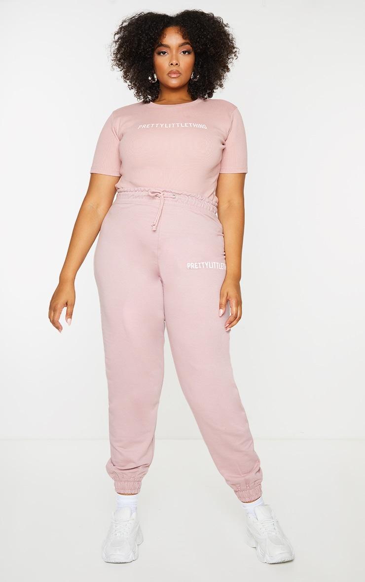 PRETTYLITTLETHING Plus Pale Pink Short Sleeve Bodysuit 3