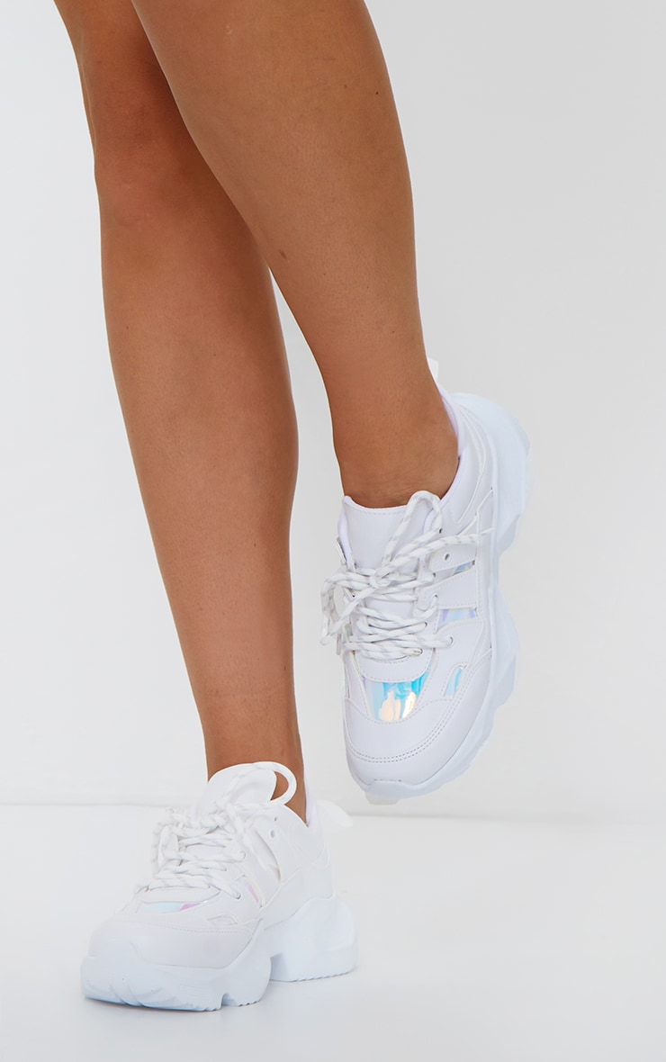 White Chunky Arched Sole Holographic Panels Sneakers 1