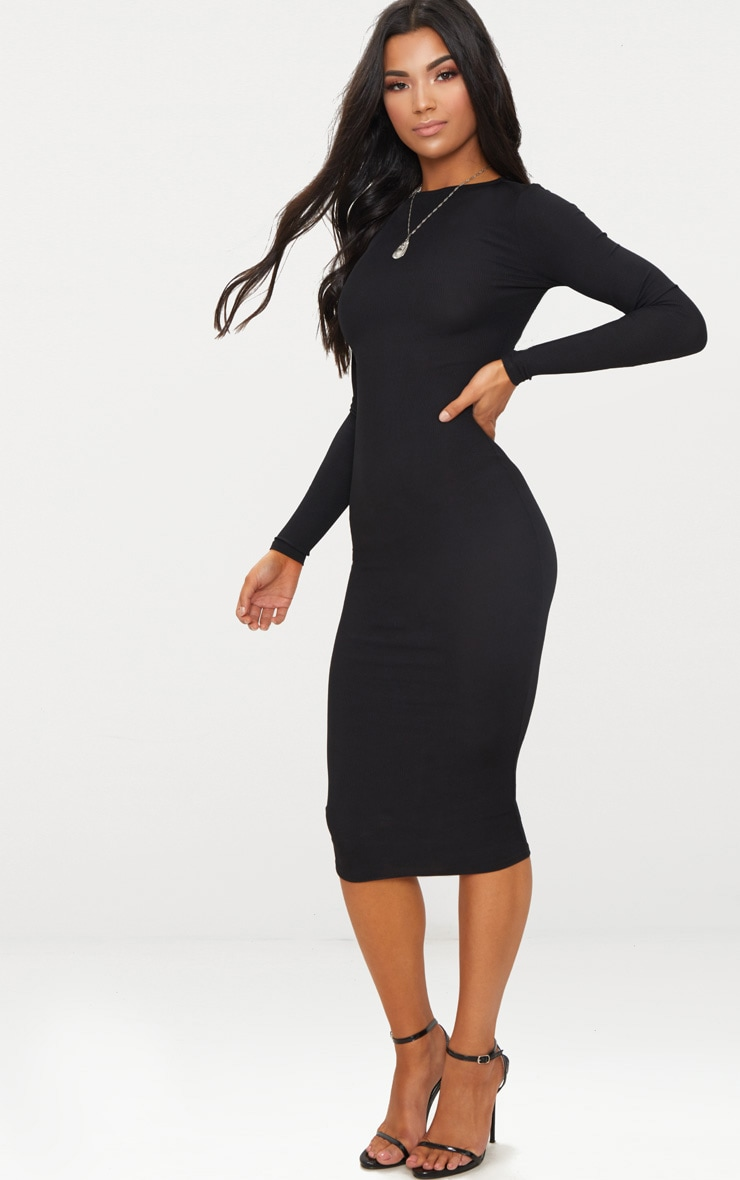 Black Ribbed Long Sleeve Midi Dress 4