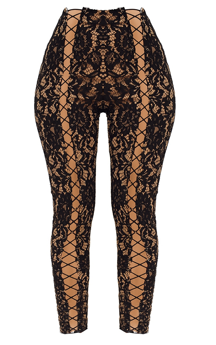 Black Lace Eyelet Detail Skinny Pants 4