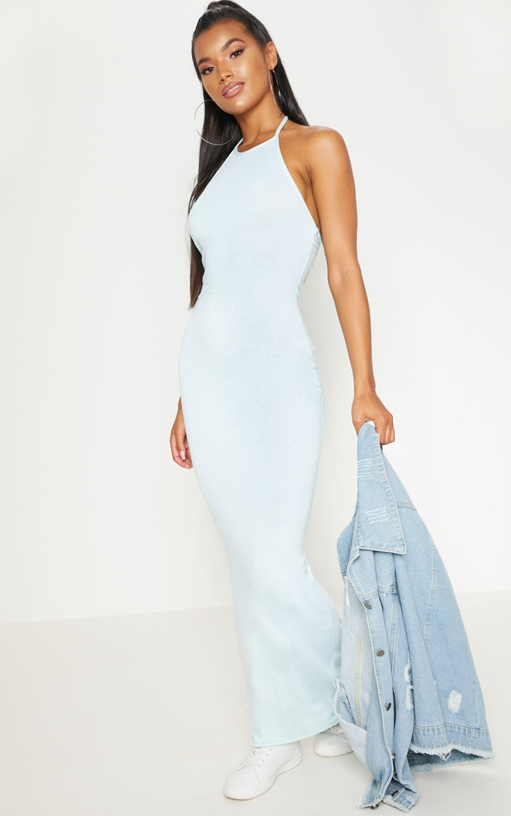Basic Mint Halterneck Maxi Dress 1