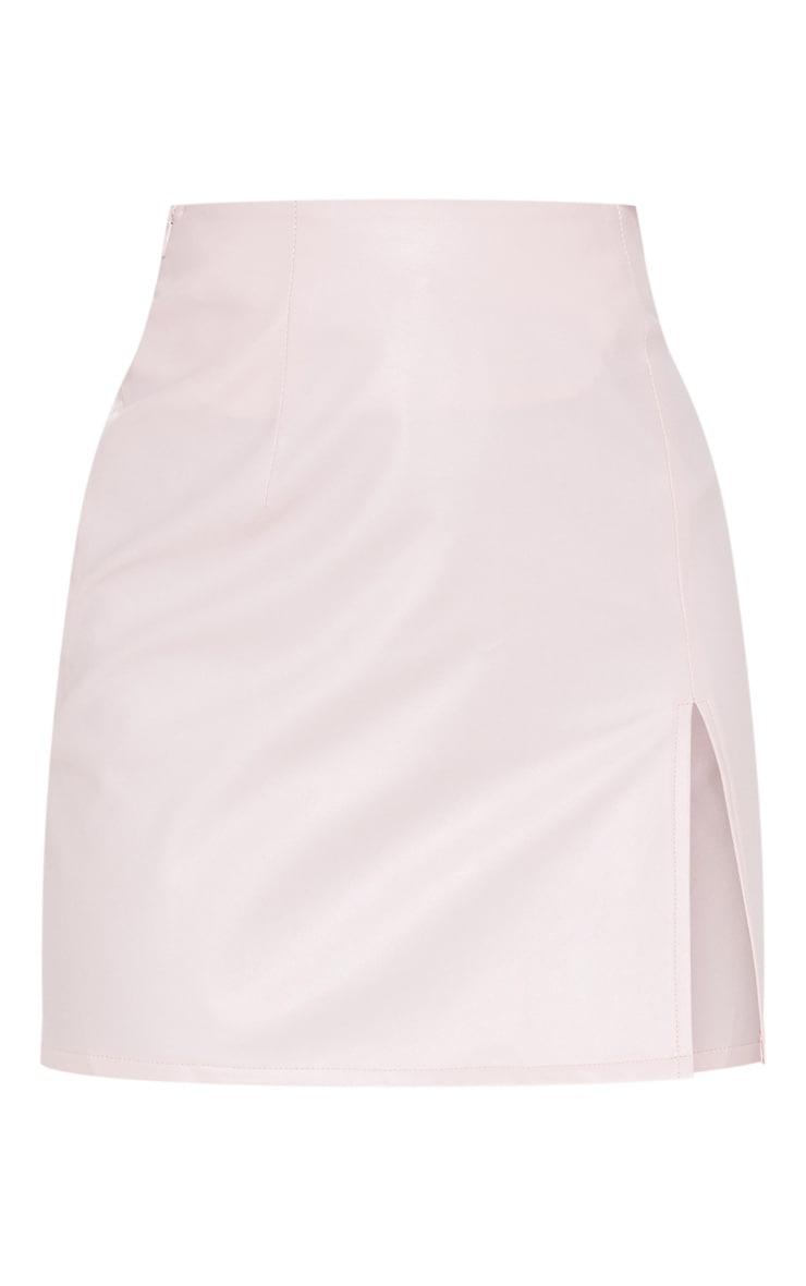 Petite Baby Pink  PU Side Split Mini Skirt 3
