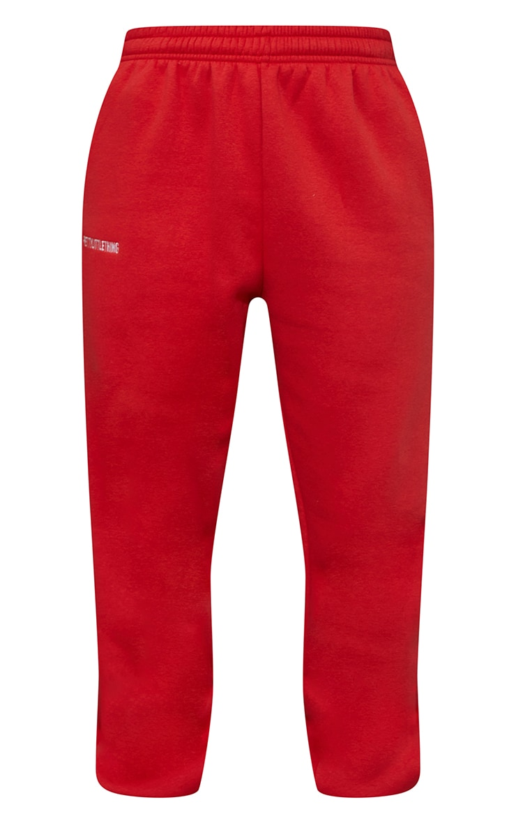 PRETTYLITTLETHING Red Block Embroidered Joggers 5
