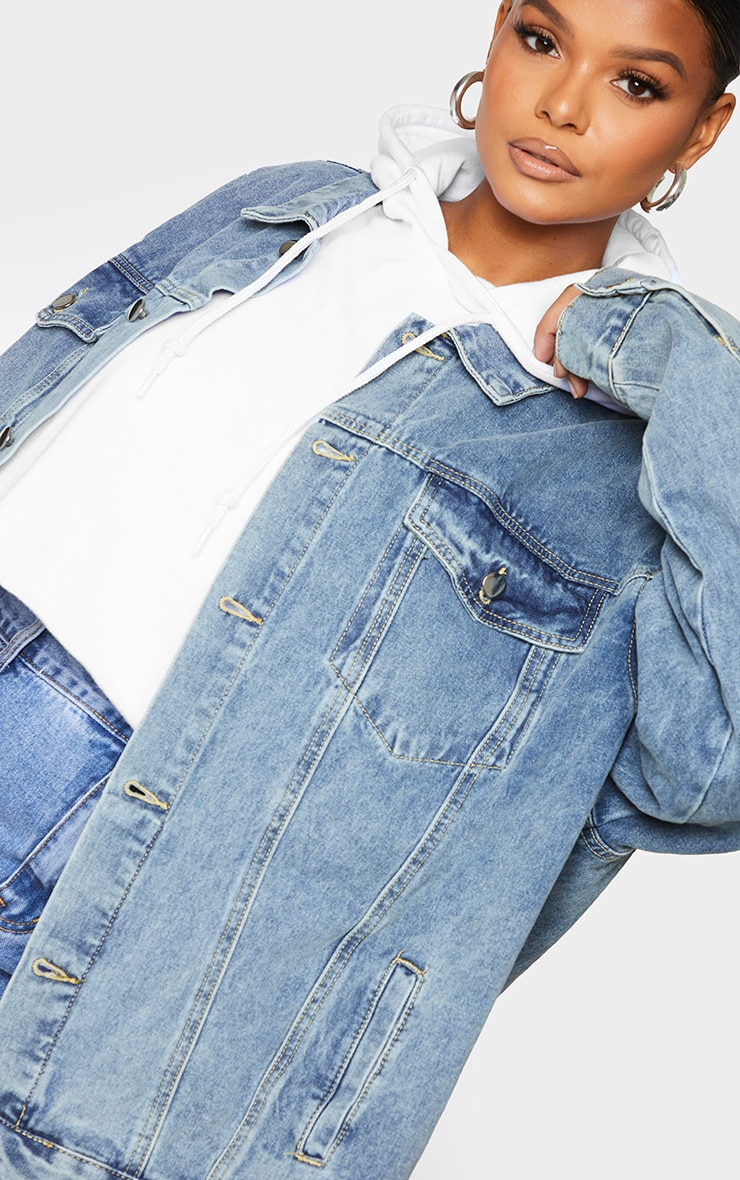 PRETTYLITTLETHING Plus Vintage Wash Oversized Boyfriend Denim Jacket 4