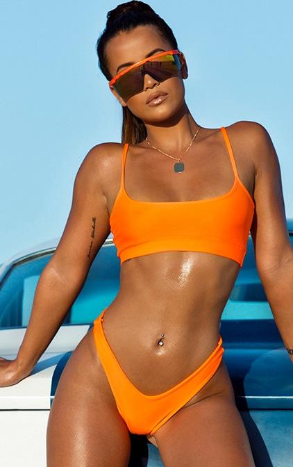 Orange Elasticated Scoop Neck Bikini Top 1