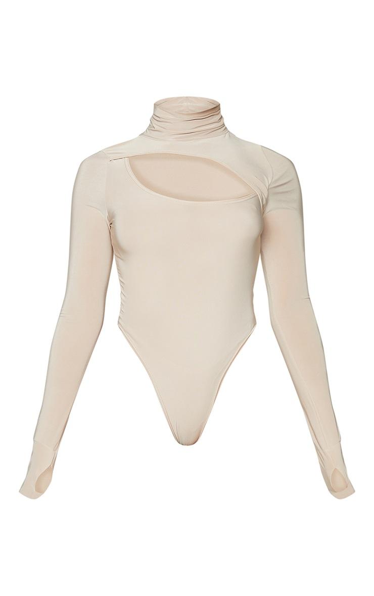 Stone Slinky High Neck Asymmetric Cut Out Long Sleeve Bodysuit 5