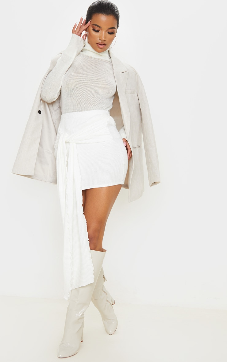 Cream Brushed Rib Extreme Tie Mini Skirt 1