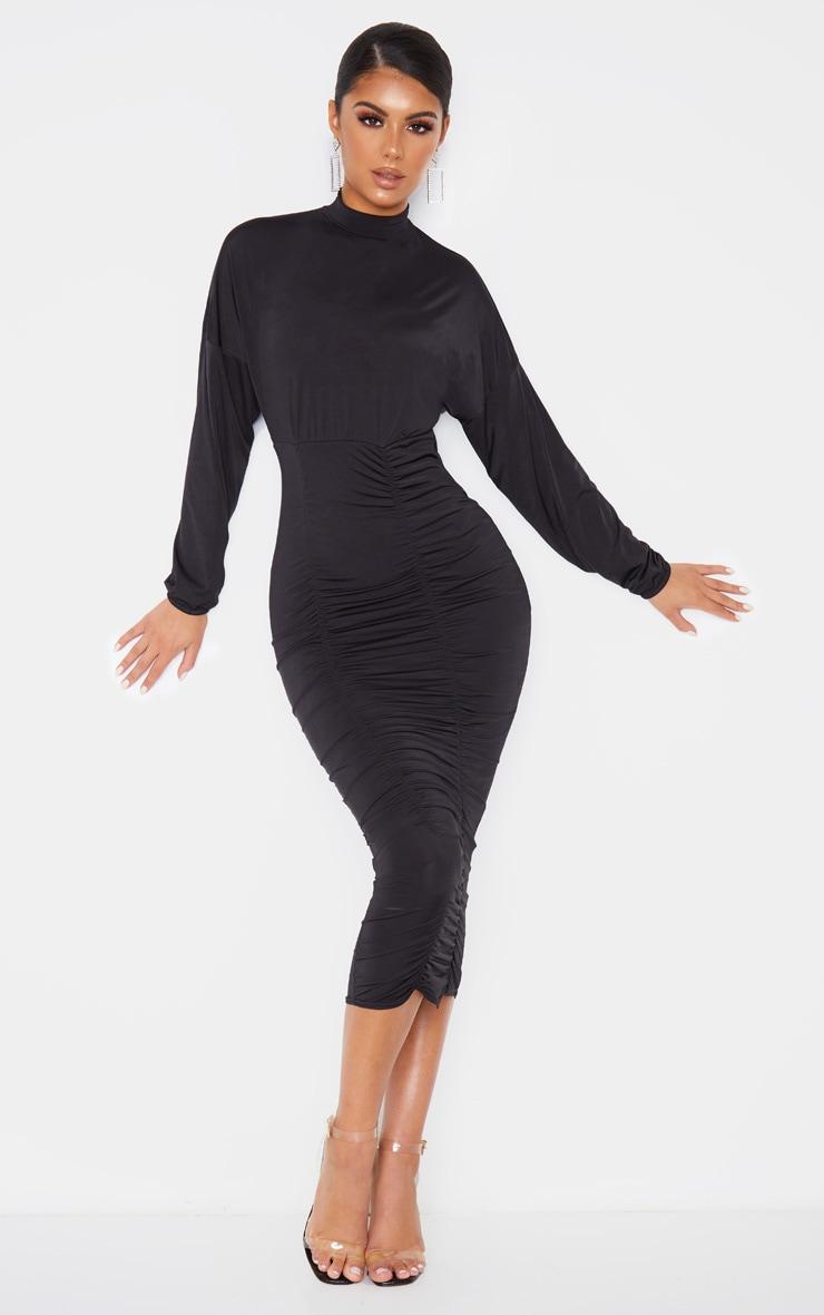 Black Slinky High Neck Long Sleeve Ruched Midi Dress 1
