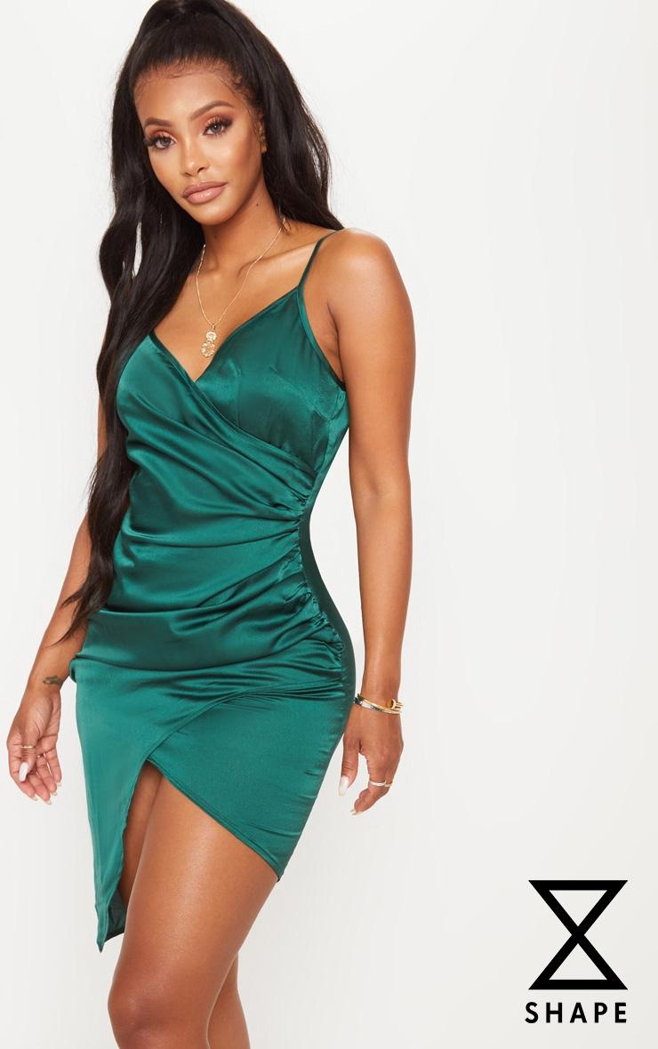 Shape Emerald Green Satin Wrap Dress 1