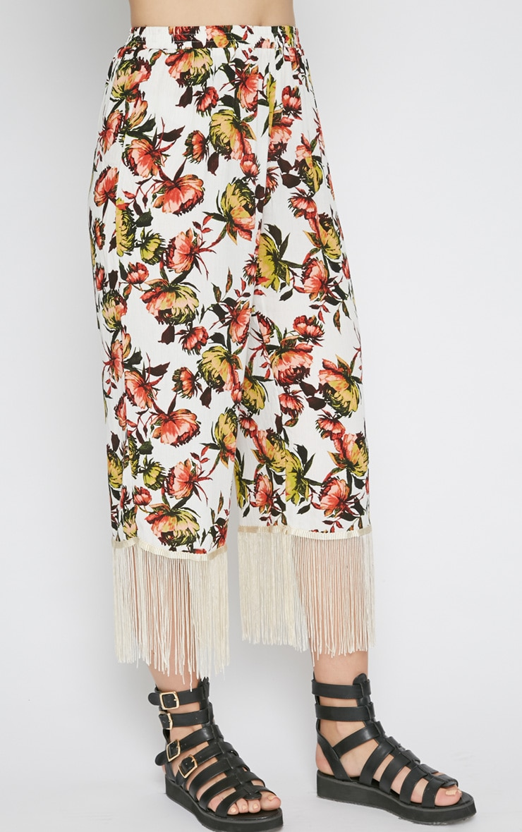 Tyra White Floral Print Tassel Trousers  3