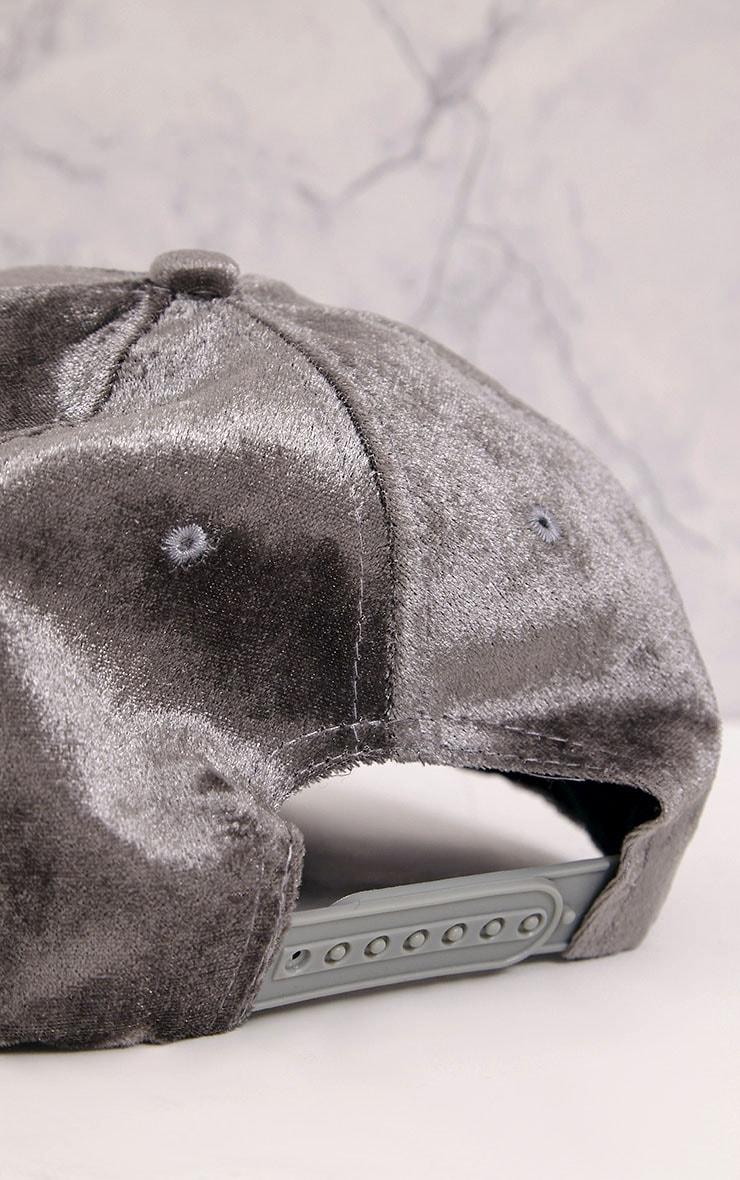 Venessa Light Grey Velvet Baseball Cap 7