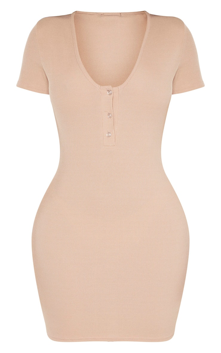 Shape Stone Ribbed Button Front Bodycon Dress 3