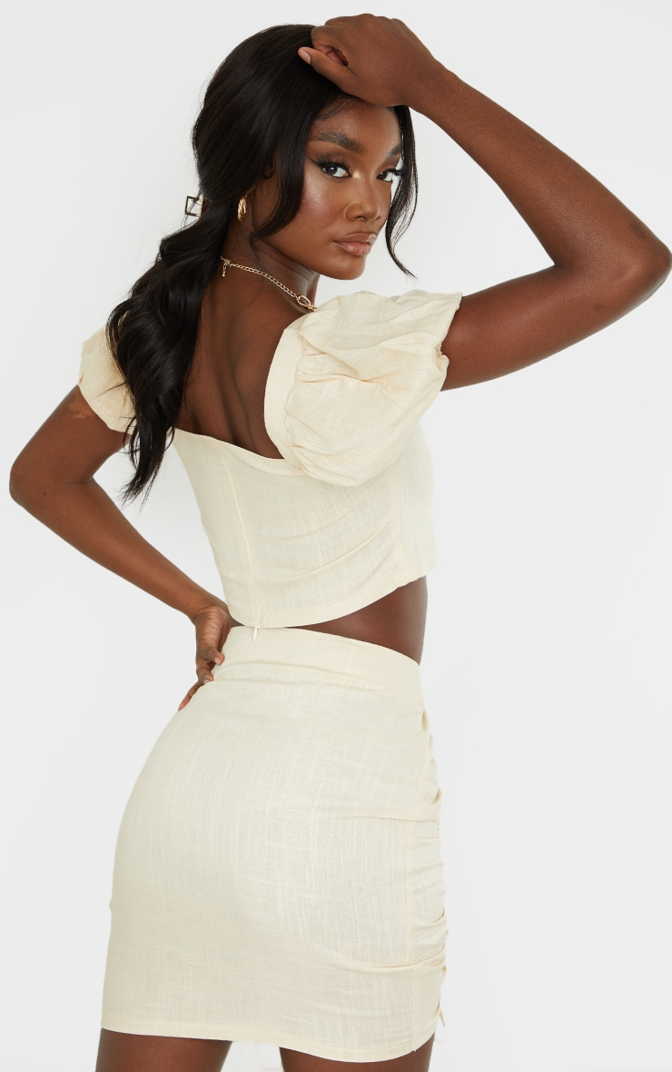 Tall Stone Puff Shoulder Cropped Blouse 2