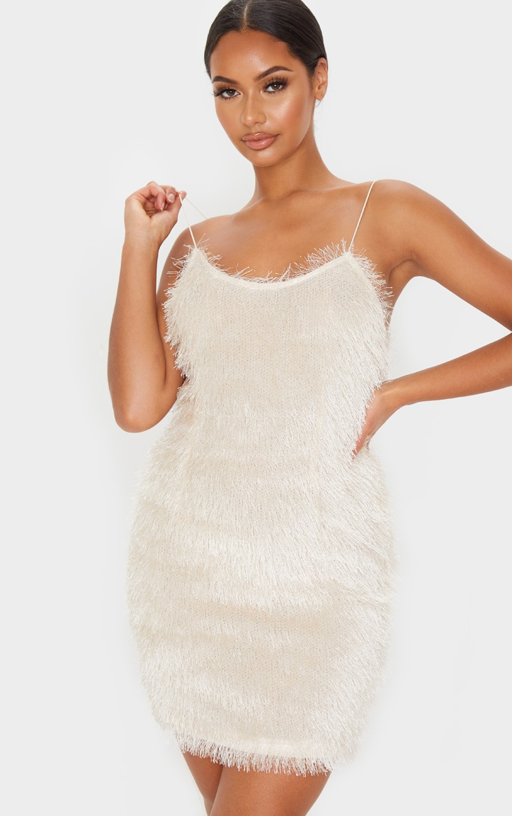 Champagne Tiered Fringed Strappy Bodycon Dress 1